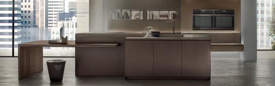cucina Icon con particolari in effetto metallo umber